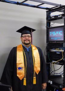 AdamAlvardoTSTCCyberGrad 72dpi 214x300 - TSTC student meets challenges head-on in quest for college degree