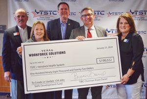 31 Jan. 2020 Abilene TWC check 300x203 - TSTC and Hendrick Health System Celebrate TWC Skills Development Grant