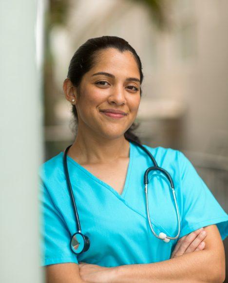 Hispanic female nurse smiling