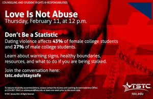 Love is Not Abuse 300x194 - TSTC hosts digital event to educate students about abusive relationships